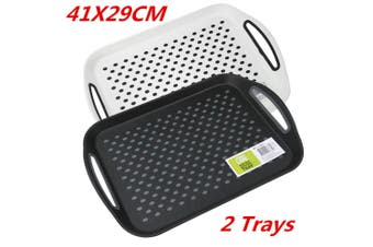 2 x Black Rectangular Non Slip Plastic Serving Tray Food Tray Rubber Surface Party 41x29cm