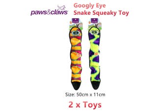 2 x Squeaky Googly Eye Snake Pet Chew Toy Dog Puppy Interactive Squeaker Teeth