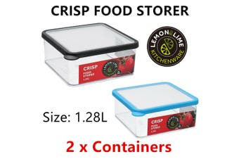 2x Fresh Food Storer 1.28L Square AirTight Container Kitchen Storage Cooking Box