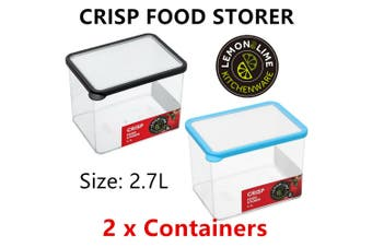 2x Fresh Food Storer 2.7L Air Tight Container Home Kitchen Storage Cooking Box