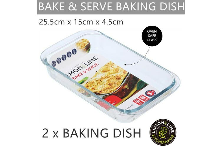 2 x Glass Baking Dish 25x15CM Oven Safe Bakeware Pie Bake Tray Casserole Cooking