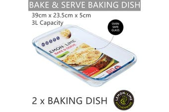 2 x Large Glass Baking Dish 39x23CM Oven Safe Bakeware Pie Bake Tray Casserole