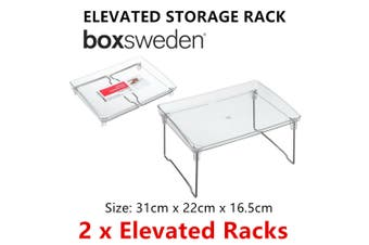 2 x Collapsible Elevated Storage Rack Portable Foldable Table Kitchen Display