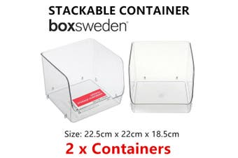 2 x Acrylic Stackable Container Office Storage Drawer Organiser Table Desk Home