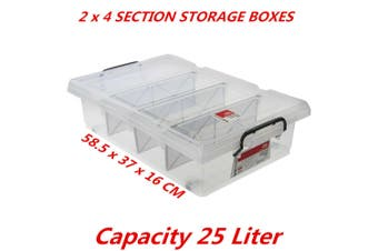 2 x 25L Clear Plastic Storage Box with Removable Dividers Containers Bin Tubs