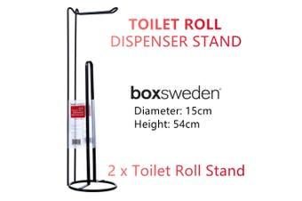 2x Toilet Rolls Holder Dispenser Bathroom Tissue Paper Towel Storage Hook Stand