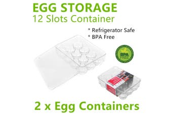 2x Clear 12 Slots Egg Storage Containers Box Fridge Plastic Holders Trays Rack