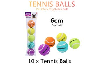 10x Colorful Pet Chew Toy Fetch Tennis Play Balls 6cm Sports Dog Puppy Throwing