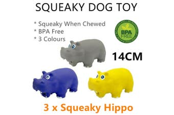 3x Squeaky Interactive Dog Chew Toy 14CM Latex Hippo Doll Pet Puppy Training