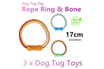 3x Rope Ring Bone Dog Tug of War Play Toys 17cm Chew Puppy Pet Training Teething