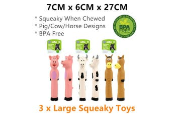 3x Large Squeaky Interactive Dog Chew Toy Latex Animal Doll Pet Puppy Training
