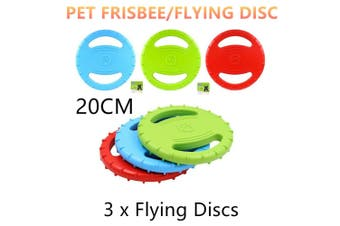 3x Dog Frisbee Throwing Flying Disc Puppy Toy Fetch Pet Training Rubber Float