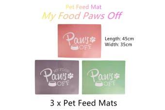 3x Pet Non Slip Feeding Mat Dog Cat Waterproof Food Water Bowl Tray Placemat