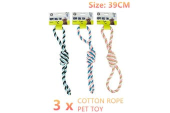 3x Cotton Rope Dog Tug Toy 39CM Puppy Pet Chew Training Interactive Tuff Knotted