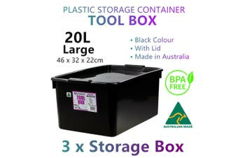 3x Large Black Storage Container Plastic Tool Boxes Tray Organiser Garage Chest
