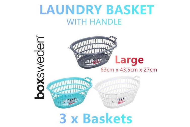 3x Large Laundry Basket Clothes Cloth Washing Storage Carry Bin Tray Bag Hamper