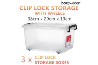 3 x Clip Lock Storage Boxes 38x29CM Plastic Container Chest Toys Organiser Bin
