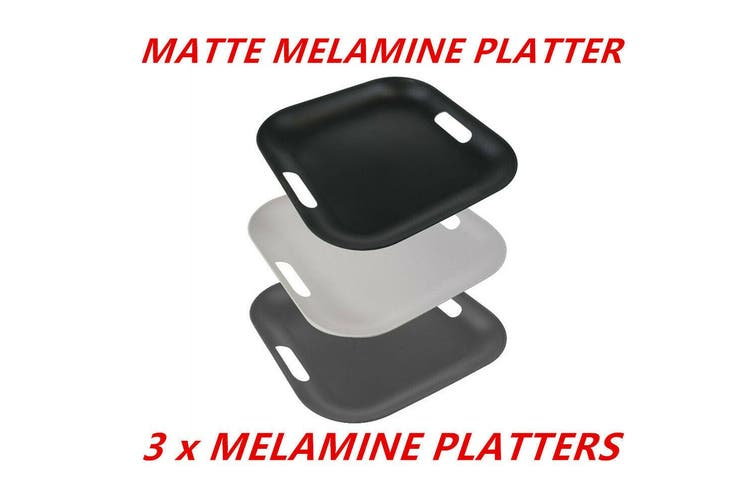 3 x Matte Square Melamine Serving Platters 38cm Color Catering Tray With Handle