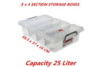 3 x 25L Clear Plastic Storage Box with Removable Dividers Containers Bin Tubs