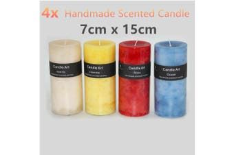 4 x Rustic Scented Handmade Pillar Candles 15cm Wax Fruit Wedding Tea Light Bulk