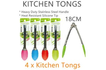 4 x Silicone n Stainless Steel Tongs 18CM Kitchen Clip Food Cooking Serving BBQ