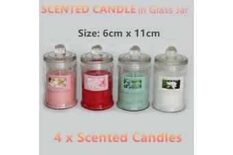 4 x Scented Glass Jar Candles 6x11cm Flower Wedding Decor Soy Wax Tea Light Bulk