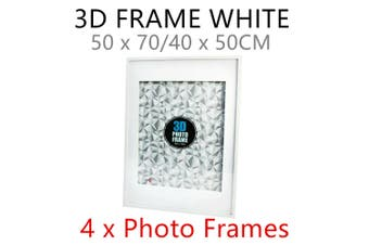 4 x Large White Modern 3D Photo Frame 50x70CM Hang MDF Deep Arts Family Picture