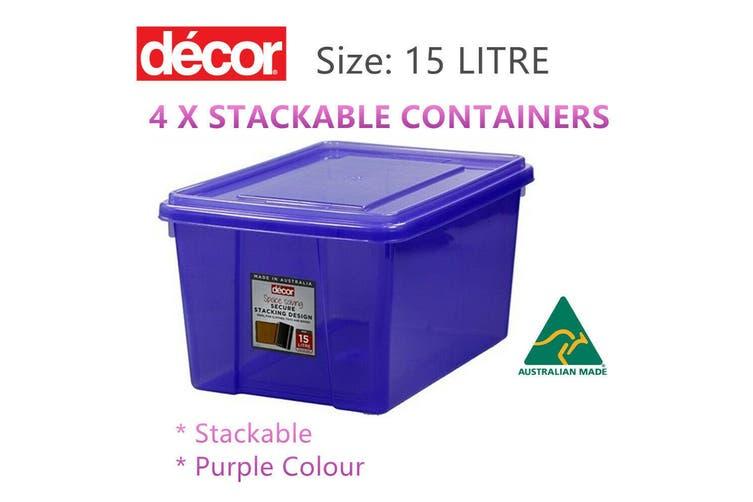 4x 15L Stackable Storage Container Box Tub Clear Plastic Basket Shoes Toys Purpl