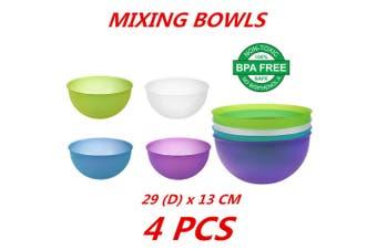 4x Plastic Mixing Bowls Food Prep Salad Snack and Fruit Server Kitchenware BPA Free