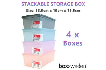 4x Stackable Storage Box 33x19cm Plastic Container Toy Document Office Organiser