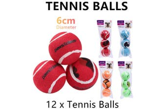 12x Pet Chew Toy Fetch Tennis Balls 6cm Sports Train Dog Puppy Throwing Play
