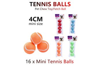 16x Mini Pet Chew Toy Fetch Tennis Play Balls 4cm Sports Dog Puppy Throw Small