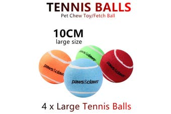 4x Jumbo Pet Chew Toy Fetch Tennis Play Balls 10cm Sports Dog Puppy Throw Large