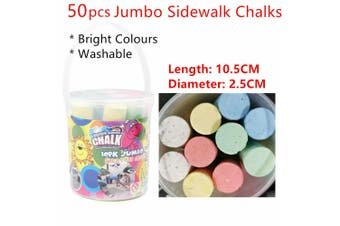 50pcs Jumbo Coloured Sidewalk Chalks in Bucket Washable Large Street Arts Craft