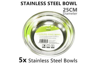5 x Stainless Steel Bowl 25CM Food Serving Mixing Salad Rice Soup Fruit Noodle