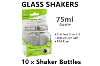 10x Stainless Steel Lid Glass Shakers Bottles Salt Pepper Spice Herb Storage Jar