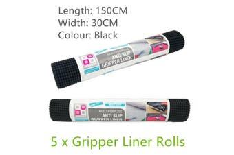 5 Rolls Non Slip Black Gripper Liner Drawer Shelf Mat Rug Cupboard Box Kitchen