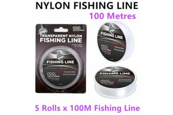 5 Rolls Transparent Nylon Fishing Line 100M 35LB Strong Clear Monofilament Sea