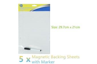 5x Magnetic Backing Wipe Board White Board Memo Marker Planner Office Dry Erase