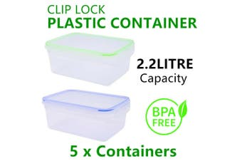 5x Plastic Food Container 2.2L Large Leak Proof Storage Meal Box Camping Picnic