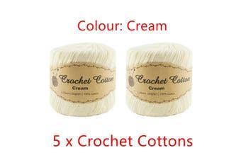 5x Cream Crochet Cotton Knitting Yarn Wool Ball Sew Thread Craft Weaving Threads