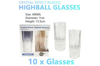10x Plastic Highball Glasses Cup 400ml Clear Tumbler Drinking Water Party Wine