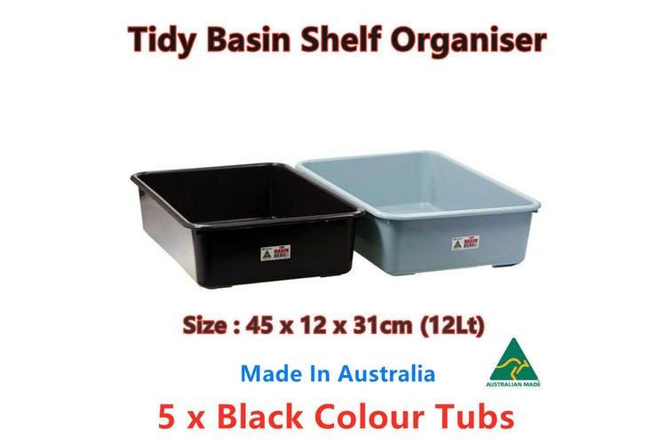 5 x 12L Blue Heavy Duty Plastic Storage Tub Bin Container Pan Crate Box Basin