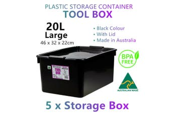 5x Large Black Storage Container Plastic Tool Boxes Tray Organiser Garage Chest