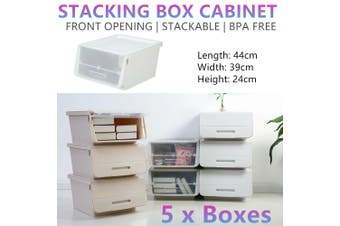 5x Stacking Storage Boxes Cabinet Stackable Rack Kitchen Shoes Container Shelf