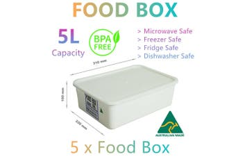 5x Food Storage Container Boxes 5L Microwave Fridge Freezer Lunch Camping Picnic