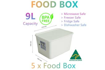 5x Food Storage Container Boxes 9L Microwave Fridge Freezer Lunch Camp Picnic