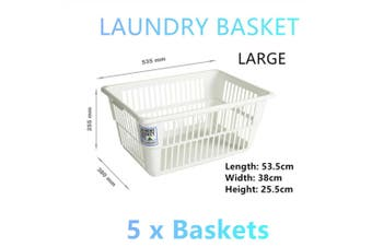 5x Large White Laundry Baskets Hamper Clothes Cloth Storage Box Carry Bins Bag