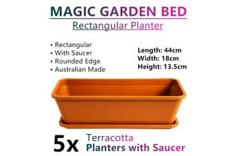 5x Rectangular Planter Raised Garden Bed Plant Pots Flower Plastic Basket Terra