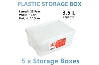 5x Stackable Plastic Storage Box Container Organiser Table Desk Basket Bin Small
